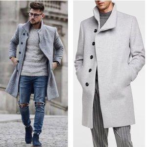 Zara mans gray funnel neck long asymmetric coat